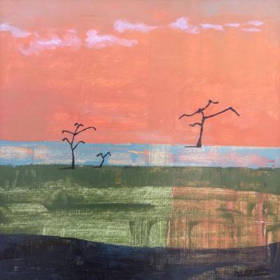 Square acrylic landscape painting.