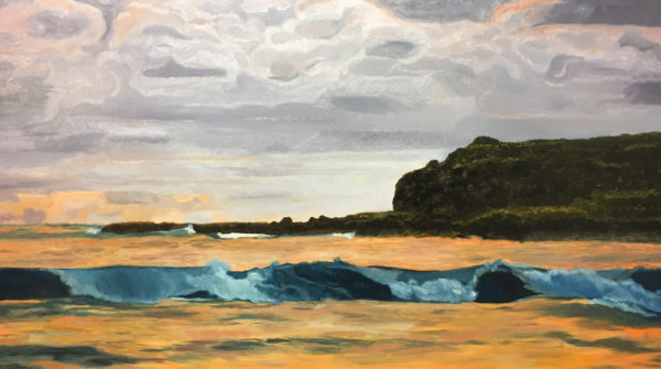 Oil Painting of Fingal Heads at sunset.