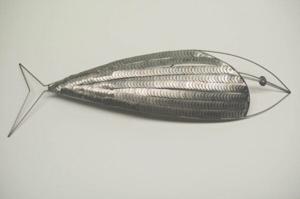 Stainless steel fish made from a lot of washers.